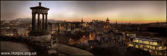 Carlton Hill Panorama at Dusk Sepia, Edinburgh, Scotland