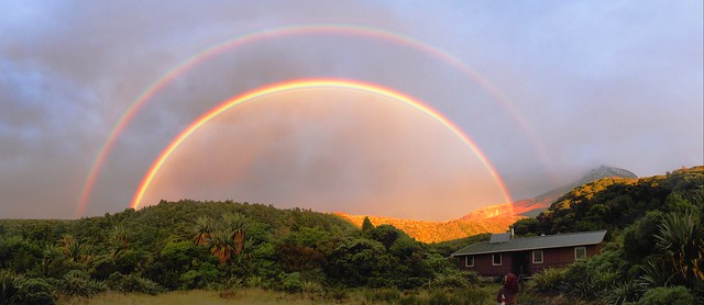 Double rainbow over Holly Hut