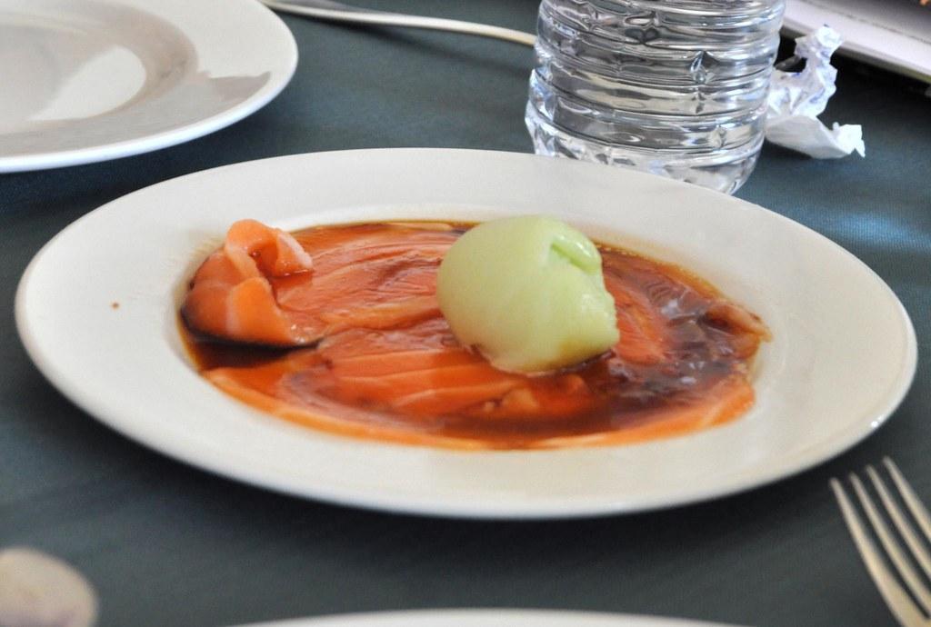 Salmon sashimi with wasabi sorbet