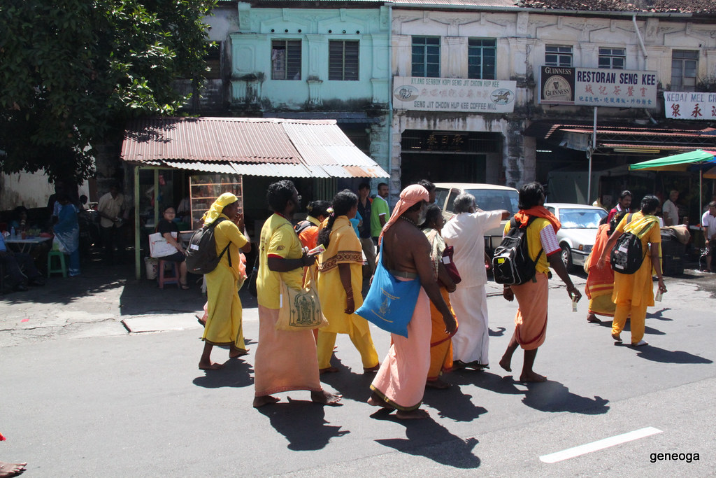 Devotees on their way to Waterfall Road