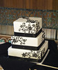 W9100 - white black filigree wedding cake