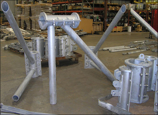 Structural Steel Pipes : Structural supports with megalug pipe attachments