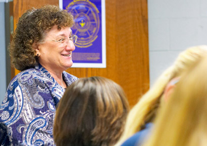 Professor Joan Purkey prepares future teachers in Newman University's classrooms