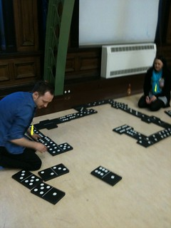 Giant dominoes took up some floor space in Discovery Museum's Great Hall