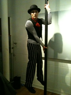 Carnival flair from a mime artist at Mushroom Works