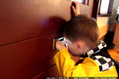 discovering the mail slot in the door at starbucks