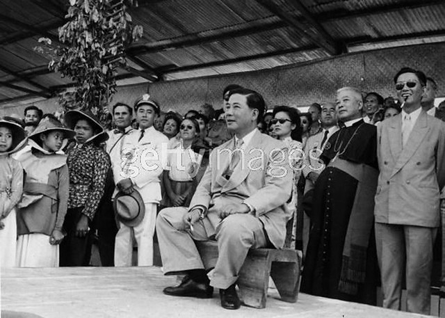 7th March 1957 - South Vietnamese President Ngo Dinh Diem (1901 - 1963), at a fair in the central highlands shortly after an attempt on his life was foiled.
