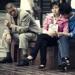 A Couple Takes a Shopping Break on Nanjing Lu