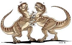 velociraptor, tyrannosaurus, cartoon, illustration,