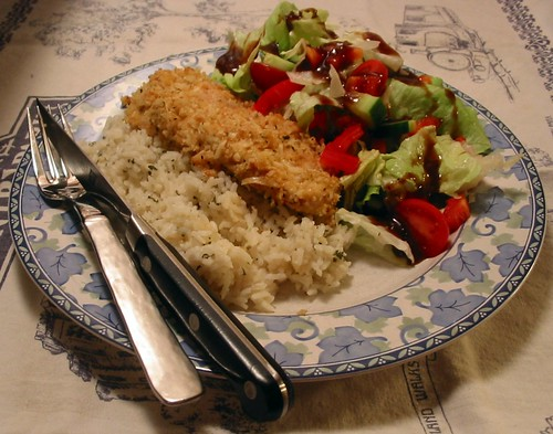 Mustard Chicken w/ Rice & Salad