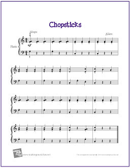 Free sheet music chopsticks for beginner piano solo flickr photo