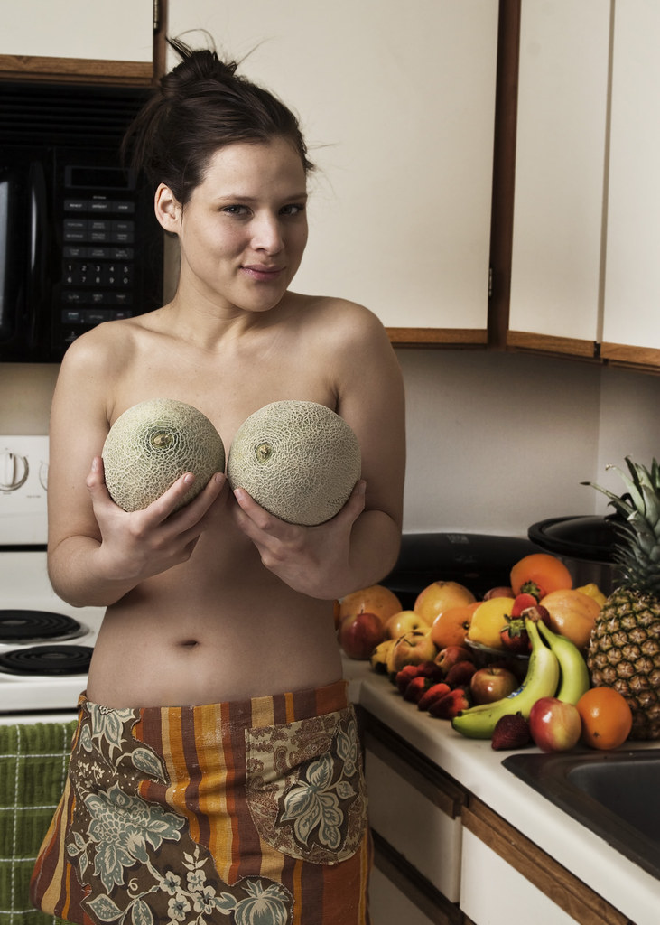 Women naked in fruits