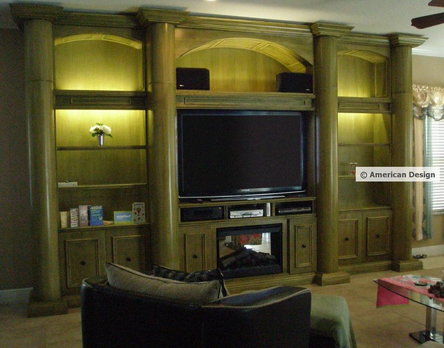 Wall Unit With Columns Arches Built In Fireplace And Flat Screen Tv Flickr Photo Sharing