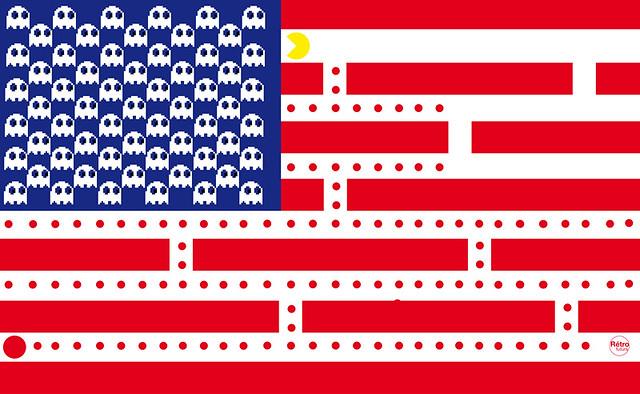 US flag pacman