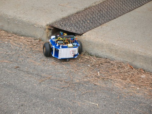 BlueBot avoiding curb