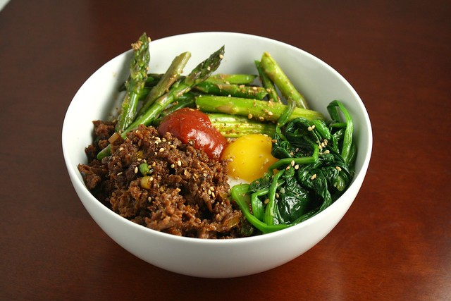 Korean Rice Bowl with Steak, Asparagus, and Fried Egg