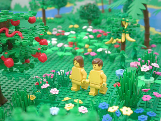 Adam & Eve Walking in the Garden of Eden: a Story from the Bible done in Legos