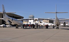 VMS Eve and VSS Enterprise on the ground with the team following the successful GF01_Photo by Bill Deaver