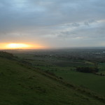 Sunset from Westbury Hill, Bratton Downs, Westbury, Wiltshire, South West England