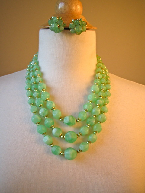 Vintage 1960's Bib Necklace Demi Parure Three Strand Tiered Sea Foam with Earring set