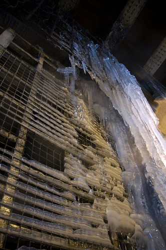 Wall of Icicles under a bridge in Manchester 1