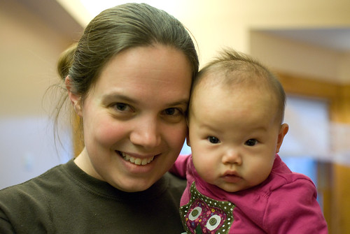Sophie with her primary caregiver, Erin