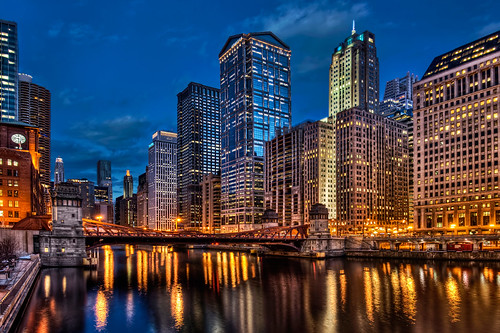 Chicago loop over the Chicago River at night