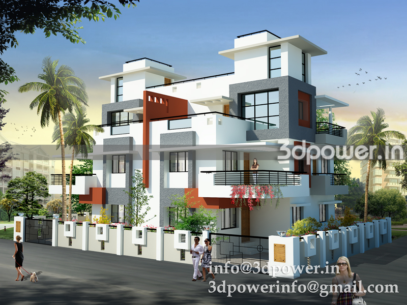 bungalow www 3dpower in red grey bungalow 3d modeling india   a