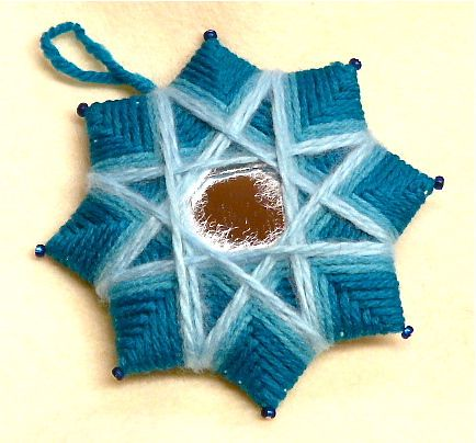 Yarn star in blues made for friend