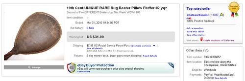 19th Cent UNIQUE RARE Rug Beater Pillow Fluffer #2 yqz Sold on eBay by Million Dollar Power Seller Norb Novocin on estateauctionsinc