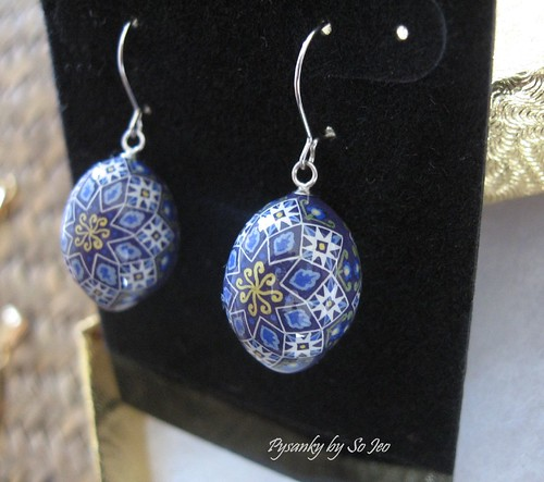 Purple Stars Pysanky Finch Egg Earrings