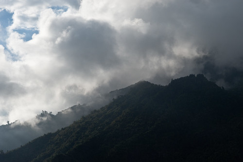 Clouds over the mountains of Cilaos, in Réunion Island.