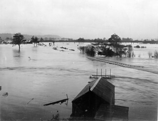 Coal creek, near Greymouth, under flood waters, ca 25 Jun 1905