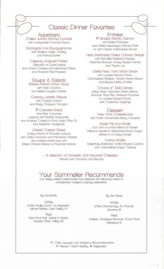 celebrity eclipse equinox menu classics day 1   a photo on