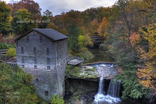 park autumn fall mill water creek waterfall youngstown lantermans