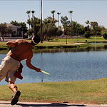 Zach Walker drives hole #18 at Shelly Sharpe course in Scottsdale, Arizona.