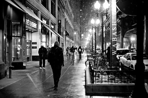 Wabash Avenue during a Chicago winter