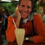 Dan Enjoys a Lucuma Shake - Cusco, Peru