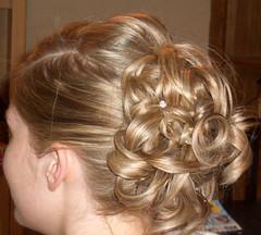 face, hairstyle, ringlet, chignon, bun, hair, brown hair, blond,
