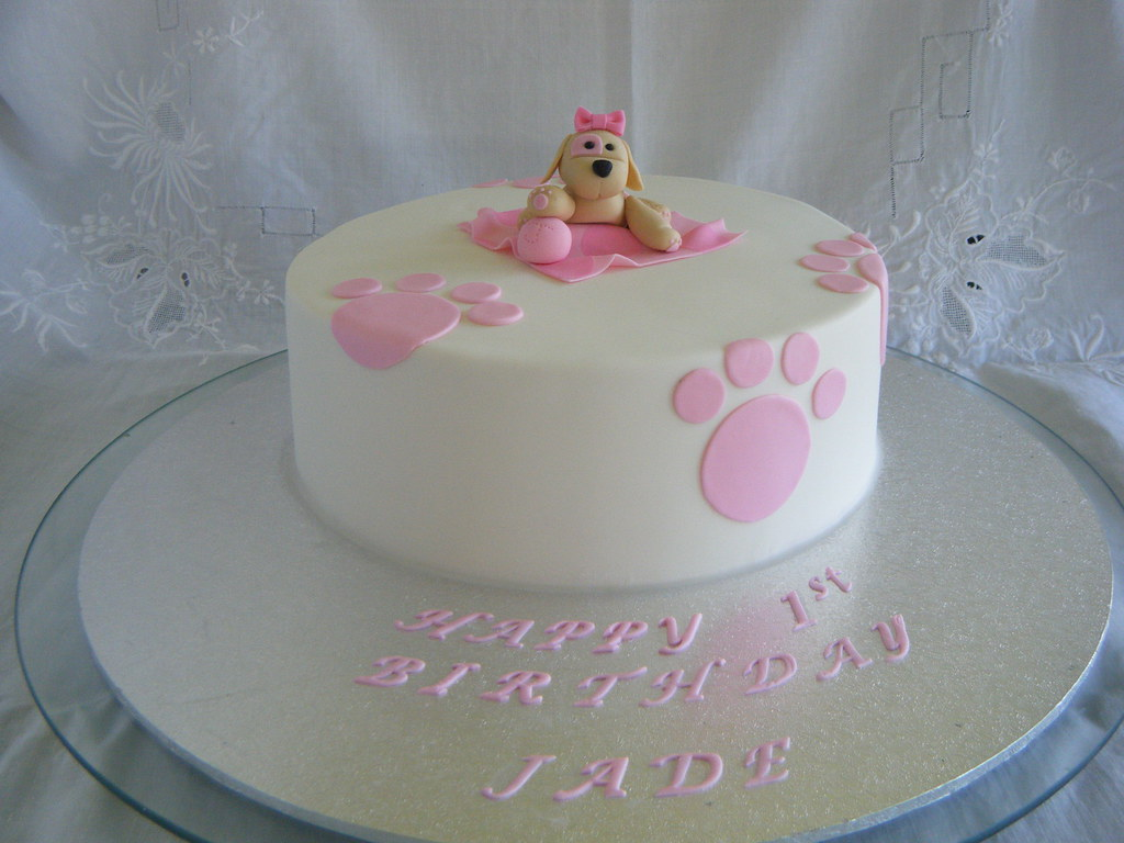 Puppy Themed 1st Birthday Cake