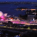 Queen Victoria illuminated in pink to support the National Breast Cancer Foundation when she docked in Sydney on 2/19