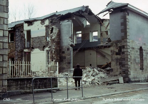 An unnamed bystander watches the demolition of St.John's School 1972 by www.stockerimages.blogspot.co.uk