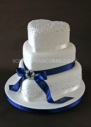 wedding cake navy blue and white wedding cake 593 navy ribbon with piped dots and 23304