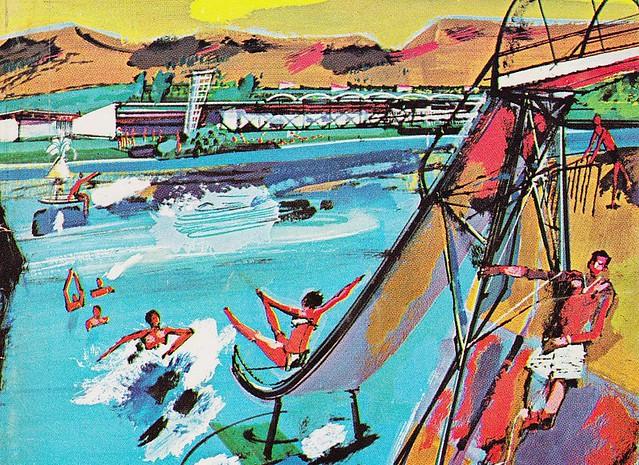 Lagoon Utah 1961 Ford Times Cover Art V Douglas Snow
