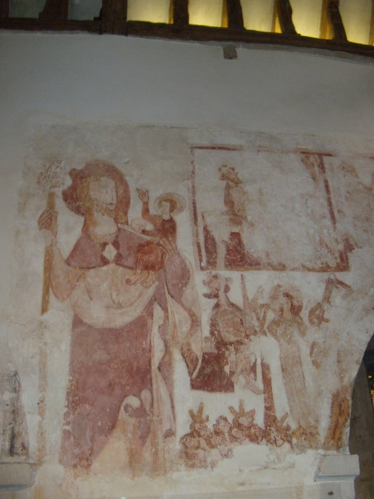 Medieval wall painting - St Christopher Great Missenden to Amersham