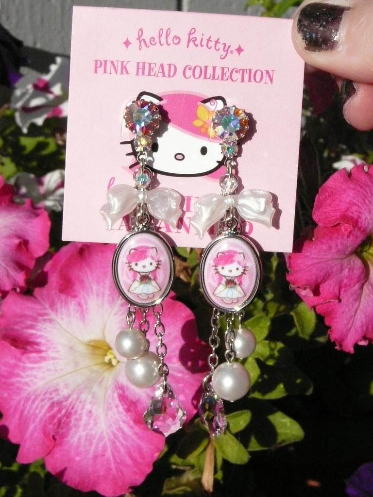 6e584b0df ... Tarina Tarantino Pink Head Hello Kitty Bridal Earrings | by Suki Melody