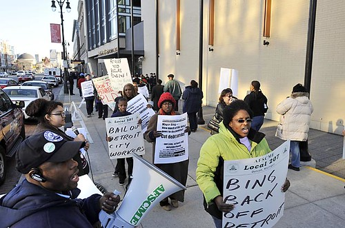 Detroit City workers and their supporters protest against the Bing administration's corporate-oriented policies that calls for large-scale downsizing and shrinking the municipality. by Pan-African News Wire File Photos