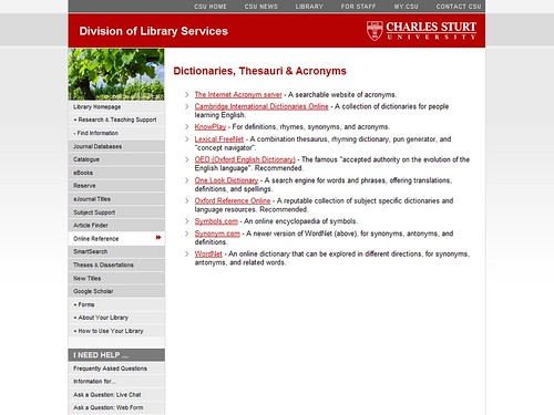 "Online Reference ""Dictionaries, thesauri, acronyms"" page (During) – Charles Sturt University Library website"