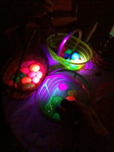 Near-UV LED flashlight making Easter eggs glow