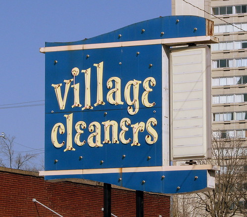 Village Cleaners neon sign